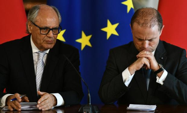 Edward Scicluna and Joseph Muscat at the news conference. Photo: Jonathan Borg