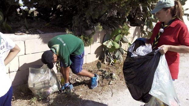 Żebbuġ Scouts Group got in on the clean-up act.