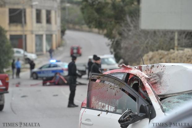 An escaped horse bolted headlong into this car and then died of its injuries on the road on January 4. The police said the horse escaped from its sulky in Attard, heading first towards Rabat and then towards Żebbuġ , where the accident occurred. The driver, a 27-year-old woman, suffered extreme shock and was taken to hospital by ambulance. Photo: Jason Borg