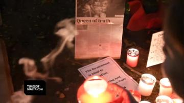 Watch: Mintoff picture will remain on Caruana Galizia memorial as 'symbol of violence, corruption'