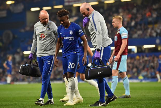 Chelsea's Callum Hudson-Odoi (centre) picked up an injury during the team's last match against Burnley.
