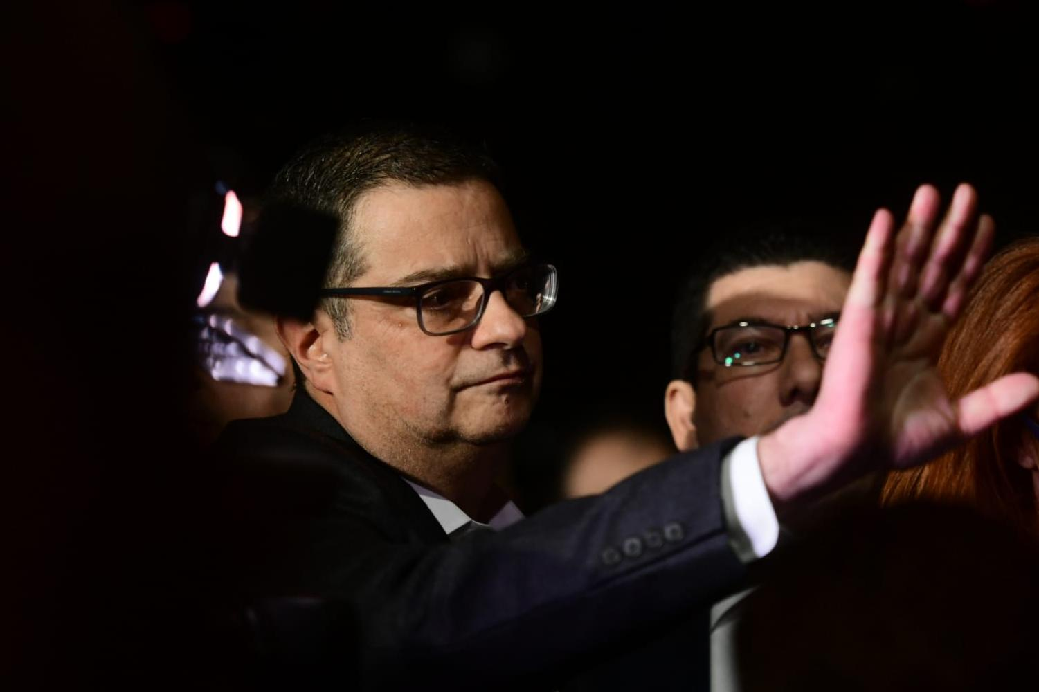 PN leader Adrian Delia was at the protest. Photo: Jonathan Borg