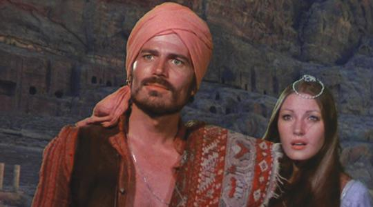 Patrick Wayne and Jane Seymour in Sinbad And The Eye of the Tiger, filmed on location in Malta in 1975.