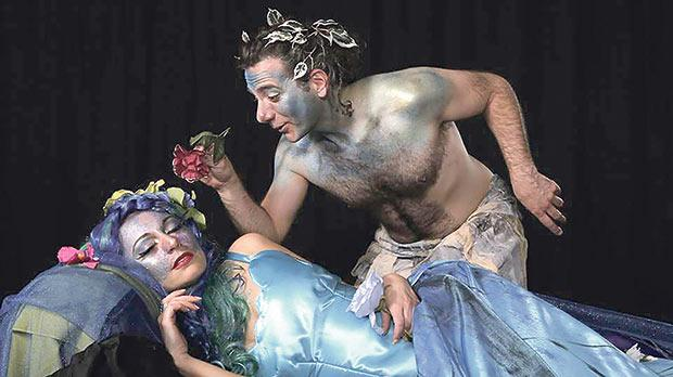 Julia Calvert and Chris Galea in A Midsummer Night's Dream.