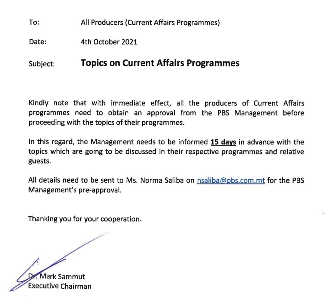 The memo sent to all producers.