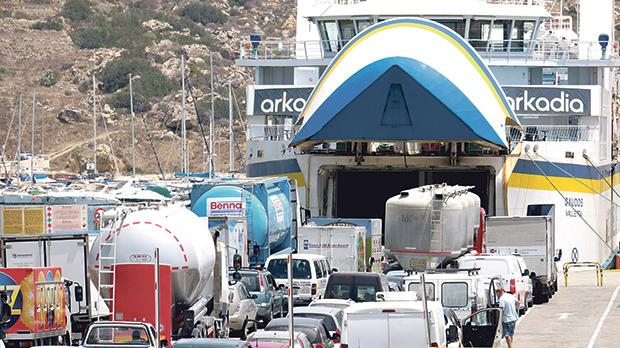 Passenger and commercial vehicles all getting ready to board the ferry. PHOTO: JOSEF CUTAJAR
