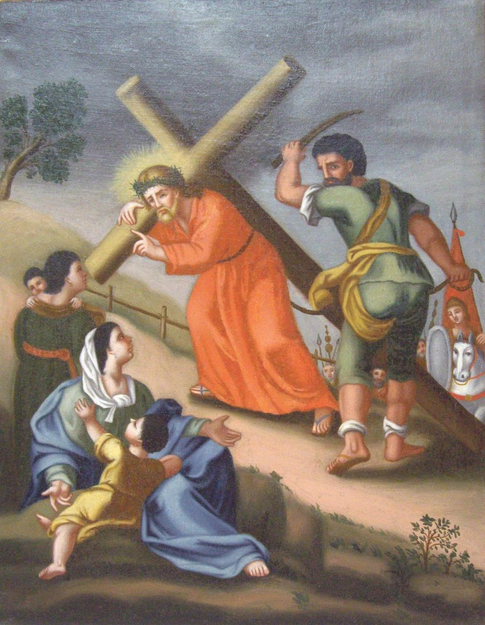 The eighth Station of the Cross after it was restored.