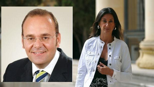 Minister Chris Cardona (inset) and Daphne Caruana Galizia.