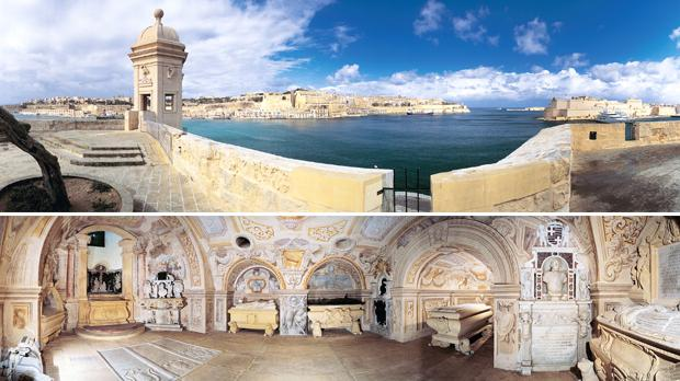 Top: Valletta as seen from Senglea. Bottom: St John's Crypt beneath the High Altar is where many Grand Masters were laid to rest, among them Grand Master Fra Jean Parisot de Valette.