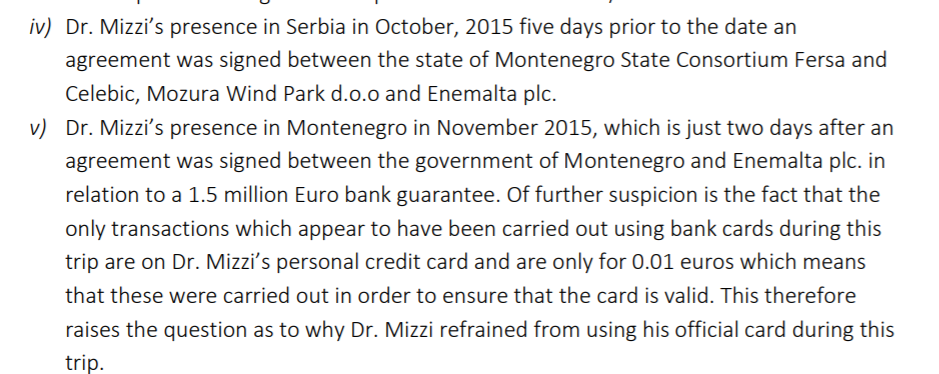 The FIAU had flagged Mizzi's frequent trips to Montenegro in a draft 2017 report.