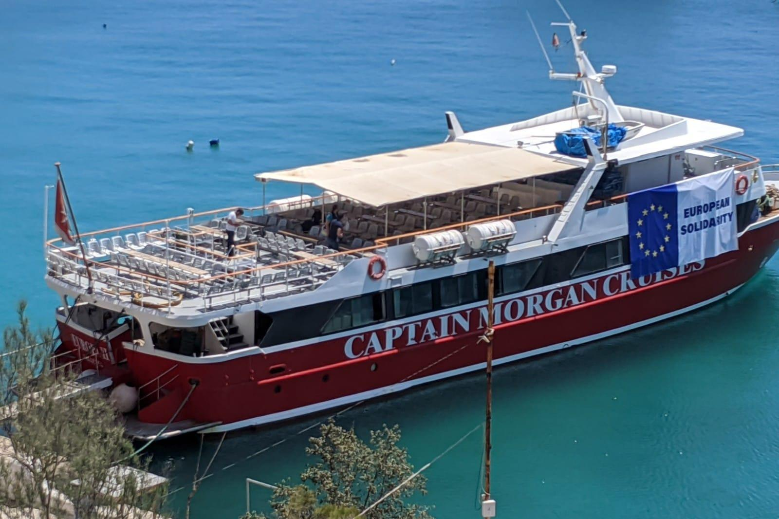 One of the Captain Morgan tourist boats that are housing migrants offshore. Photo: Jonathan Borg