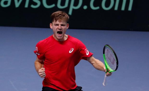 David Goffin celebrates his victory against Lucas Pouille, of France.