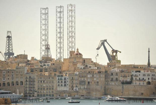 Cranes pop out above Senglea in Grand Harbour on October 5. Photo: Chris Sant Fournier