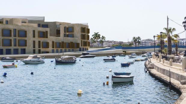 Photomontage of the planned apartment blocks and new bridge at Manoel Island.