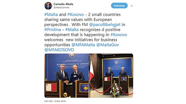 Foreign Minister Carmelo Abela's statement about Malta and Kosovo sharing the same European values has earned him a stiff rebuke from Kosovar journalists.