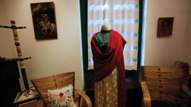 An outfit that belonged to Frida Kahlo is seen in the bedroom Kahlo shared with her husband Diego Rivera at the Blue House in Coyoacan, Mexico City. Photo: Reuters