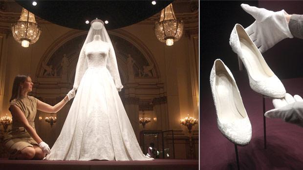 kate middleton wedding dress enshrined displayed buckingham palace exhibit