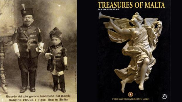 "The ""miniature man"" Baron Puoce and his son who entertained Maltese patrons at cinemas during the interval. Right: The front cover of Treasures of Malta published by Fondazzjoni Patrimonju Malti."