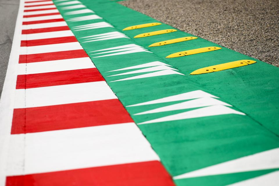 The yellow kerbs at the final two corners of the Red Bull Ring have been removed ahead of this weekend's season-opening Austrian Grand Prix.