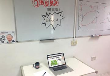 The new job role includes Moyes' own office, a football table and a state-of-art white board.