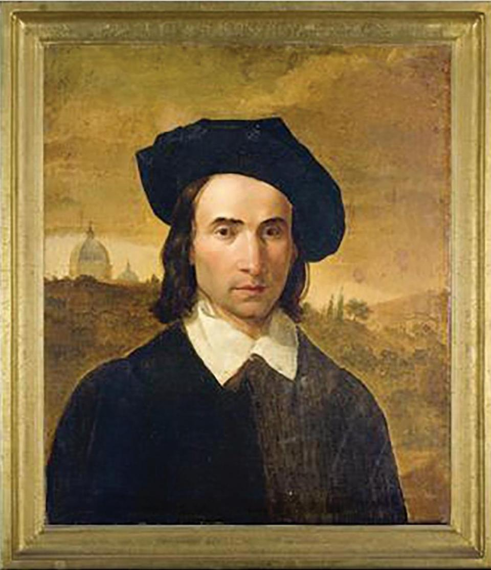 A self-portrait of the Maltese Nazarene artist Giuseppe Hyzler who was consulted on the repainting of the dome interior, but who died before he could tender his advice.