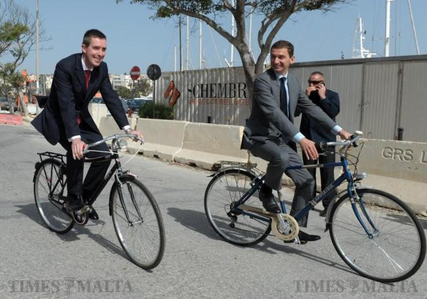 British High Commissioner Rob Luke (left) together with Dutch Ambassador Joop Nijssen cycle along the Ta' Xbiex front on April 14 to raise awareness about the healthier and cleaner mode of transport. Photo: Matthew Mirabelli