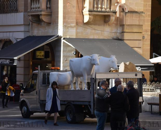 Polystyrene statues depicting Maltese proverbs are removed from Valletta on February 7 to be repaired, just five days after being unveiled as part of the Valletta 2018 project Kif Jgħid il-Malti (According to Maltese Sayings). Photo: Mark Zammit Cordina