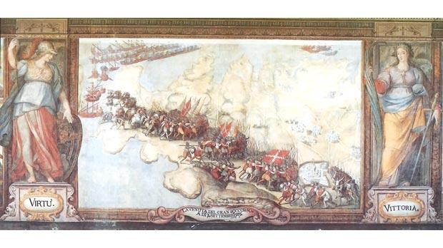 The Landing of the Gran Soccorso in Malta in September 1565, painted by Matteo Perez d'Aleccio at the Palace, Valletta. Laura Battiferra wrote sonnets to two captains for their part in the Soccorso.