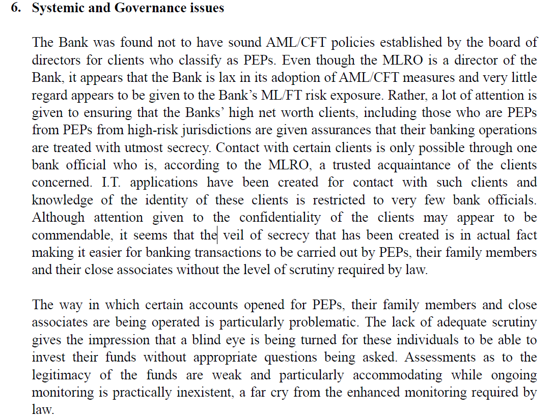An excerpt from the leaked FIAU report.