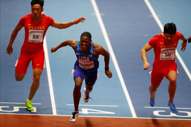 Christian Coleman of the U.S. wins the Men's 60m Final.