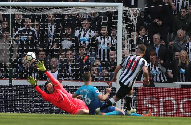 Newcastle's Matt Ritchie scores his team's winner against Arsenal.