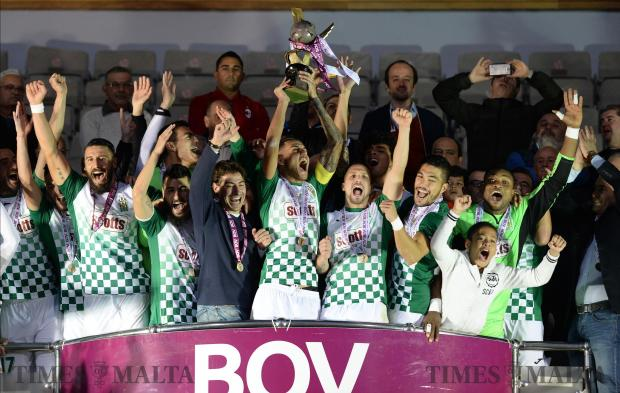 Floriana players celebrate their BOV Super Cup win against Hibernians at the National Stadium in Ta'Qali on December 13. Photo: Matthew Mirabelli