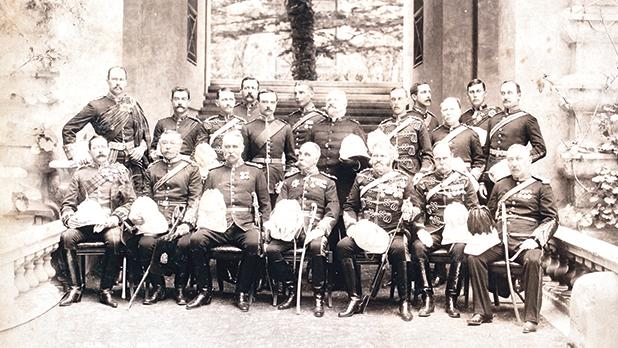 In the front row (seated, from left) are Colonel Money, DSO, Colonel Hogg, Commanding Royal Engineer, Major General Nicholson, Commanding Royal Artillery, Governor Sir Arthur Lyon Fremantle, KCMG, Colonel Bayly, CB, Colonel Hughes, CB, CMG, and Surgeon Major General Inkson, FMO. Standing (from left) are Captain Egerton, ADC, Captain Biancardi, ADC, Captain Cockburn, Captain Monro, Captain F.I. Maxse, Major Graham Thomson, Rev. Riddell Morrison, Captain Woodward, Captain Baker, Col. H.F. Luke, Captain J.S. Ewart, AMS, and Major W.G. Collingwood. PHOTO: RICHARD ELLIS