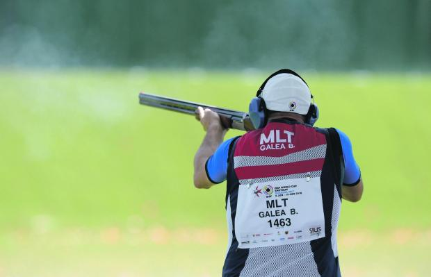 Brian Galea hit 48 clays at the end of the opening day of the trap event in Siġġiewi. Photo: Matthew Mirabelli