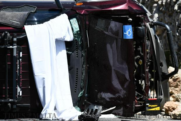Two people are hospitalised after a car flips over in Dingli on April 24 Photo: Jonathan Borg