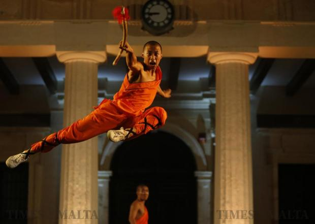 A Shaolin monk of the Dengfeng Zhongyue Shaolin Boxing Culture Troupe from Henan Province in China performs in St George's Square in Valletta on September 17. Photo: Darrin Zammit Lupi