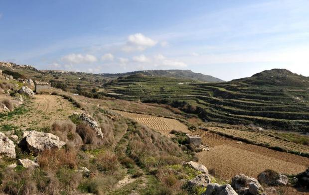 Terraced fields and hills at Mtahleb are seen on February 3. Photo: Chris Sant Fournier