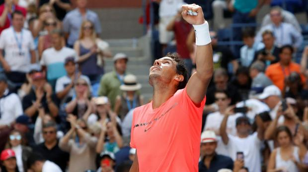 Rafael Nadal of Spain celebrates winning his fourth round match against Alexandr Dolgopolov of Ukraine.