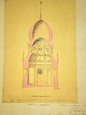 A cross-section drawing of the proposed mosque.