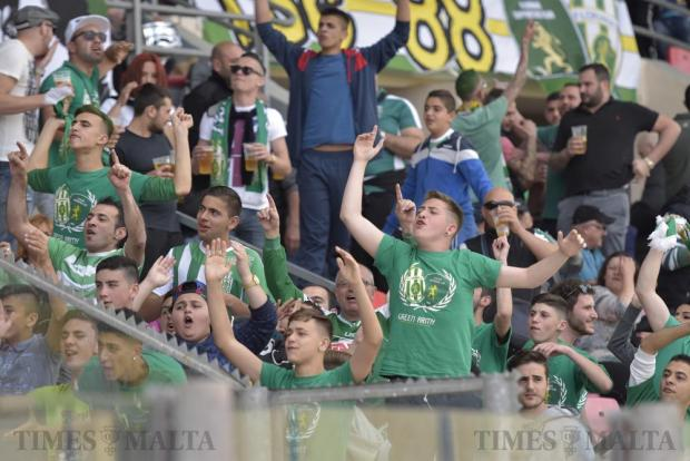Floriana supporters taunt their Valletta rivals before their Premier League derby match at the National Stadium in Ta' Qali on April 9. Photo: Mark Zammit Cordina
