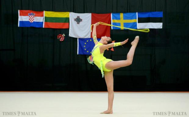 A young gymnast participates in the 1st Spring Cup International Competition held at Tarxien on May 10. Photo: Matthew Mirabelli