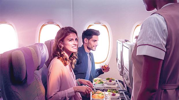 Economy Class travellers can look forward to award-winning service and hospitality from the airline's multi-national cabin crew.