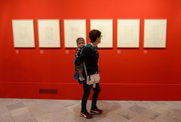 A lady and her child enjoy an exhibition of Pablo Picasso and Joan Miró artworks -two Spanish giants of 20th-century art at the Grand Master's Palace in Valletta on April 24. Photo: Matthew Mirabelli