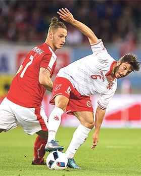 Going places... Winger Luke Gambin controls the ball during Malta's friendly game against Austria. Photo: PaulZammit Cutajar