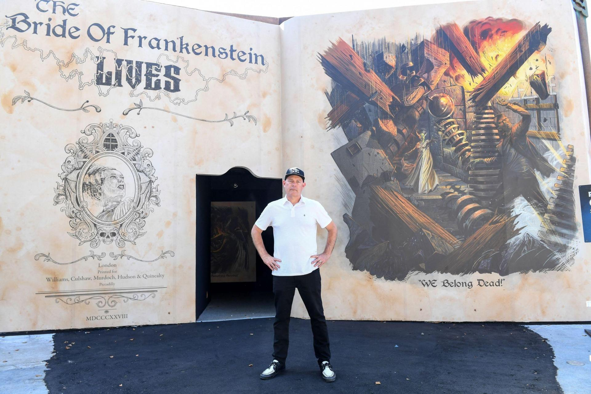 Executive producer and director John Murdy gives a tour of 'The Bride of Frankenstein' maze he is setting up for Halloween Horror Nights.