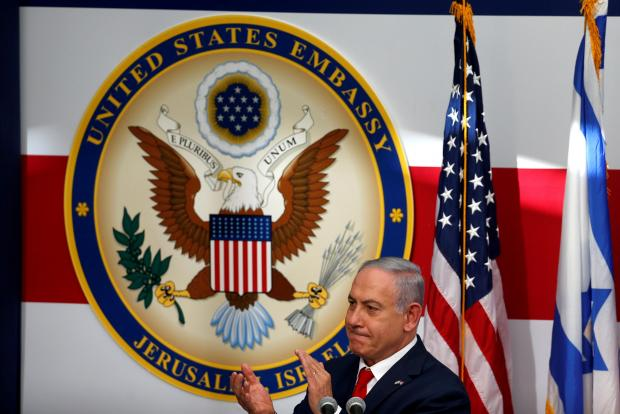 Netanyahu at the new US embassy in Jerusalem. Photo: Reuters