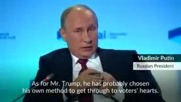 """Trump behaves """"extravagantly"""" to get point across: Putin"""