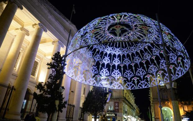 The Christmas lights are turned on in Republic Street Valletta on November 17. Photo: Matthew Mirabelli