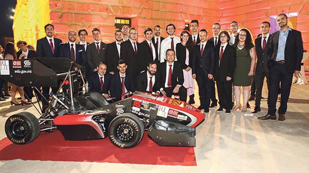 The team and other officials at the unveiling of the race car at Villa Bighi, Kalkara. Photo: Icreatemotion Photography