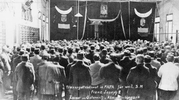 The funeral service held by prisoners in Malta for Franz Joseph I, Kaiser of Austria and King of Hungary, on November 21, 1916.